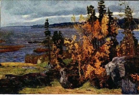 Description of the painting by Vasily Meshkov Golden Autumn in Karelia