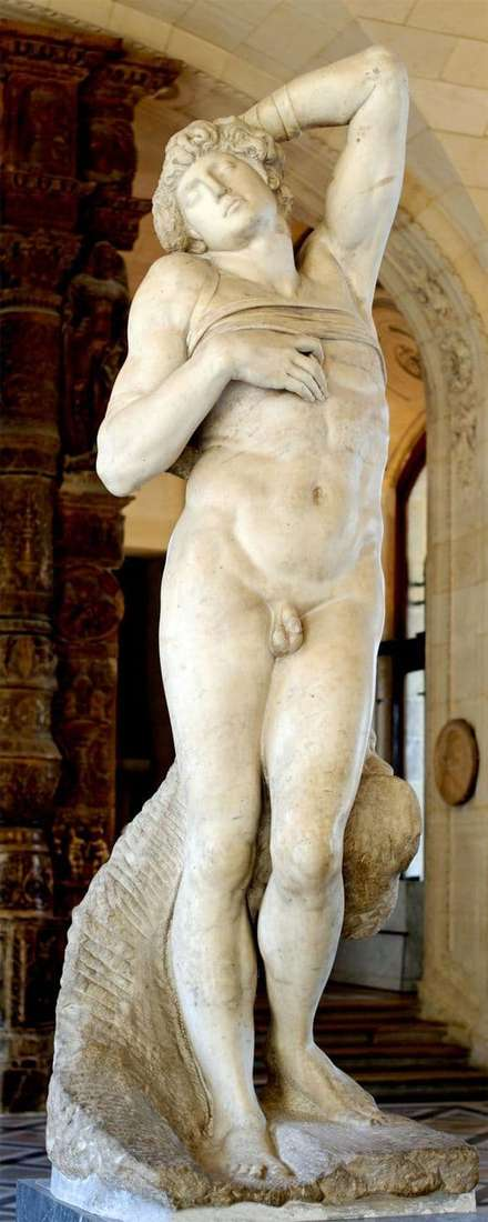 Description of the sculpture by Michelangelo Buanarroti The Dying Slave