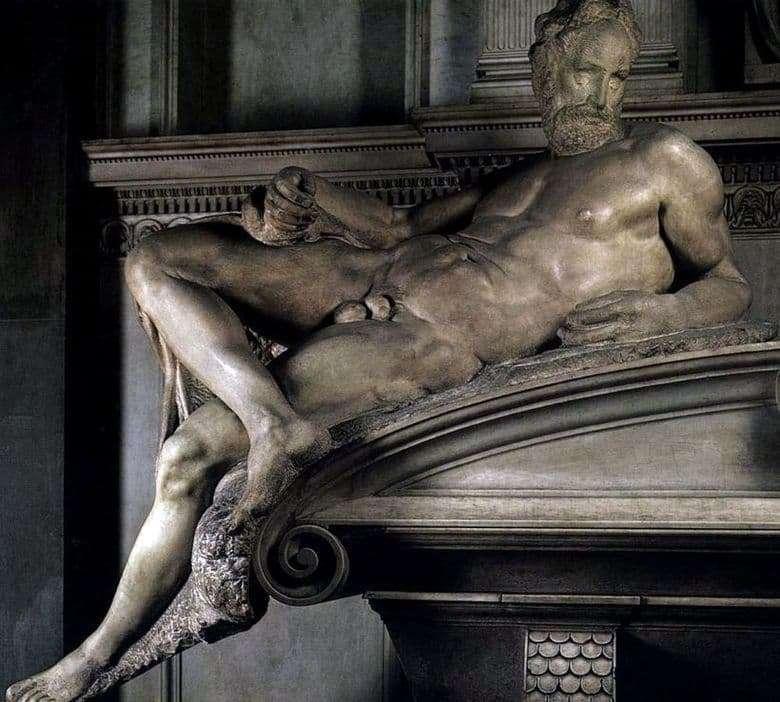 Description of the sculpture by Michelangelo Evening