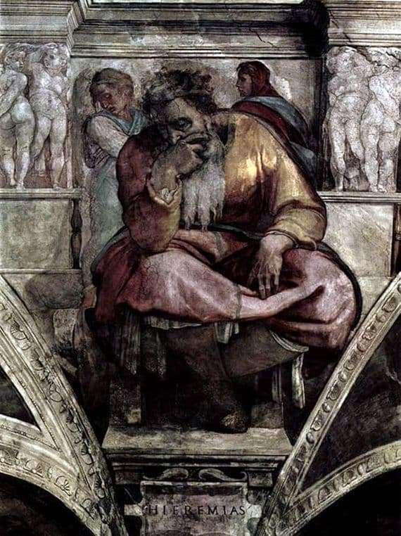 Description of the fresco by Michelangelo Buonarroti The Prophet Jeremiah