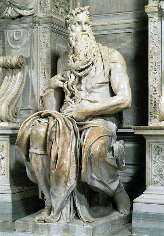 Description of the sculpture by Michelangelo Buanarroti Moses