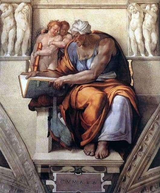 Description of the painting by Michelangelo Buanarroti Kumskaya Sibyl