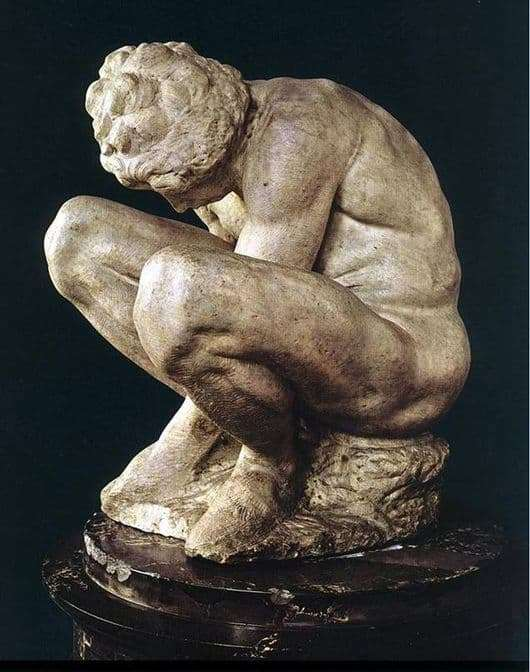 Description of the painting by the sculpture Michelangelo Buanarroti Crouching Boy