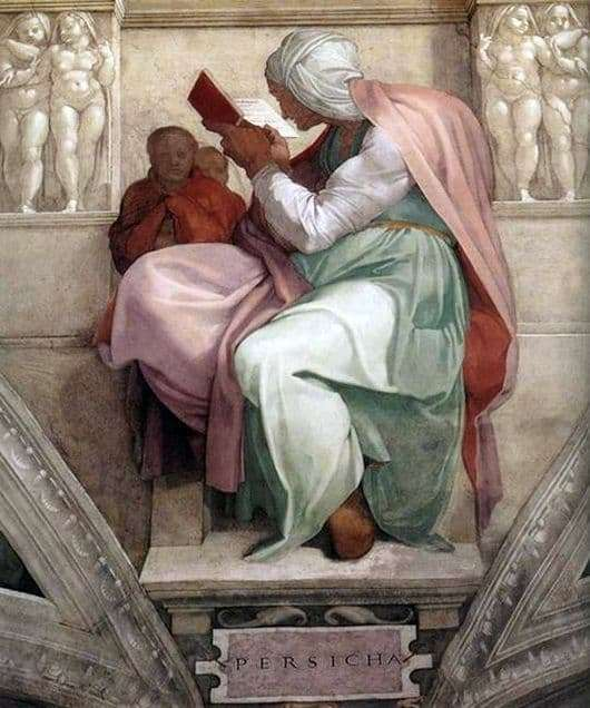Description of the painting by Michelangelo Buonarroti Persian Sibyl