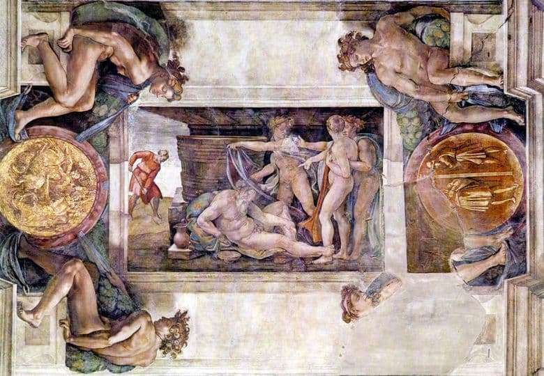 Description of the painting by Michelangelo Noahs Drunkenness