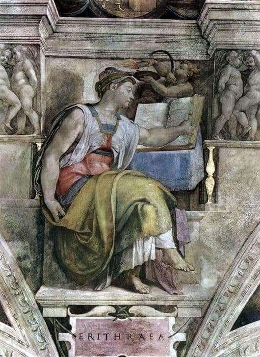 Description of the painting by Michelangelo Buanarroti Eritrean Sibyl