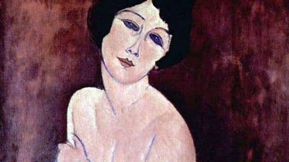 Description of the painting by Amedeo Modigliani Seated Nude on the Sofa