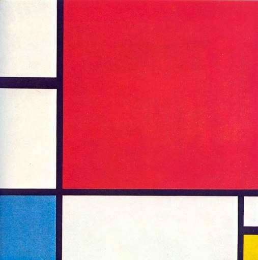 Description of the painting by Peter Mondrian Composition with red, yellow and blue