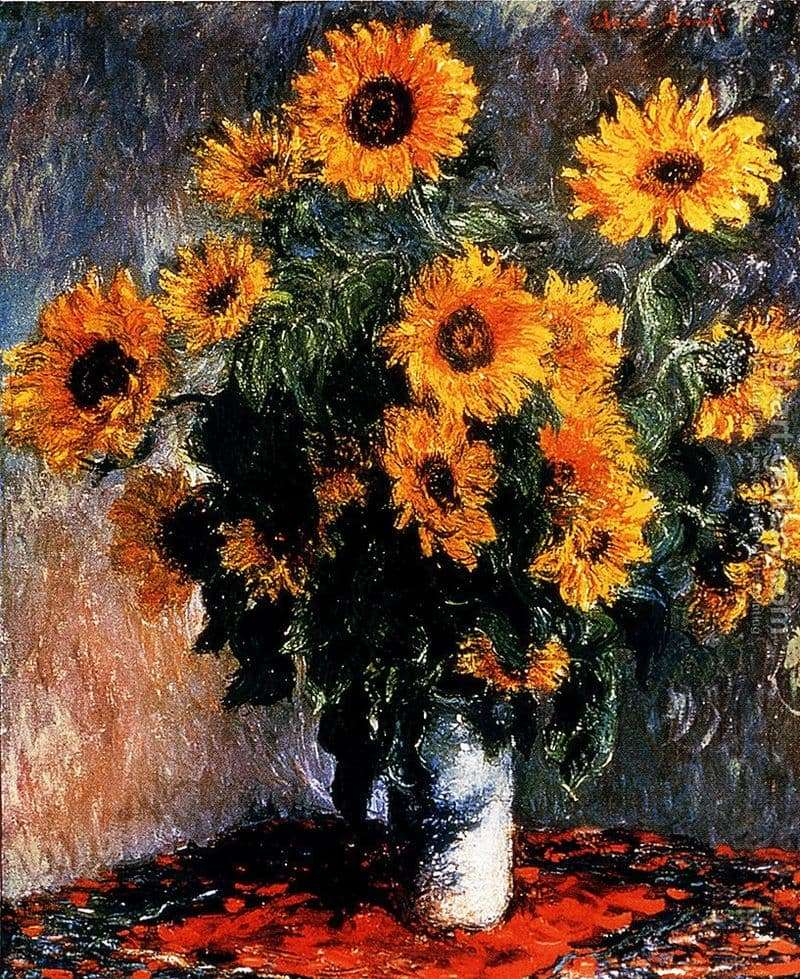 Description of the painting by Claude Monet Sunflowers
