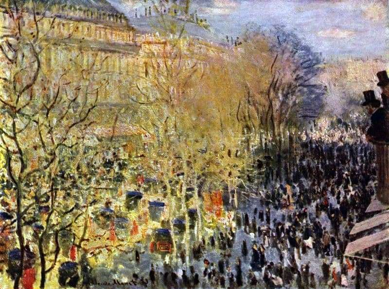 Description of the painting by Claude Monet Boulevard des Capucines in Paris