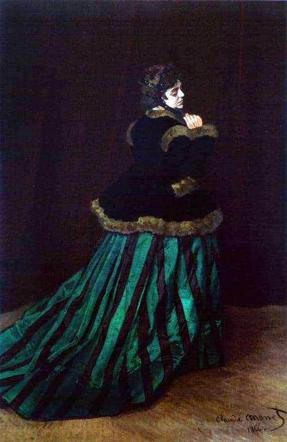 Description of the painting by Claude Monet Lady in a green dress (Camilla)