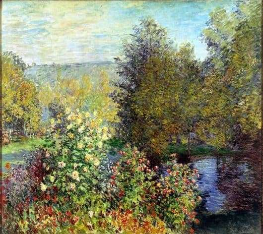 Description of the painting by Claude Monet A corner of the garden in Montgeron