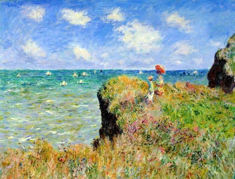 Description of the painting by Claude Monet Walk on the rocks