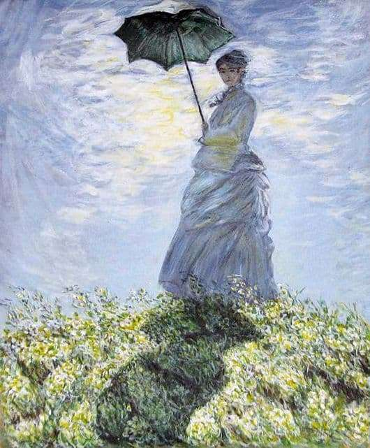Description of the painting by Claude Monet Lady with an umbrella