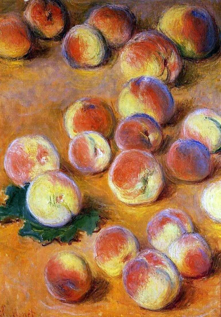 Description of the painting by Claude Monet Peaches