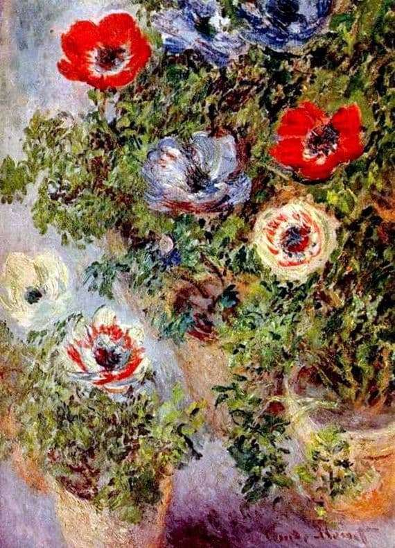 Description of the painting by Claude Monet Anemones