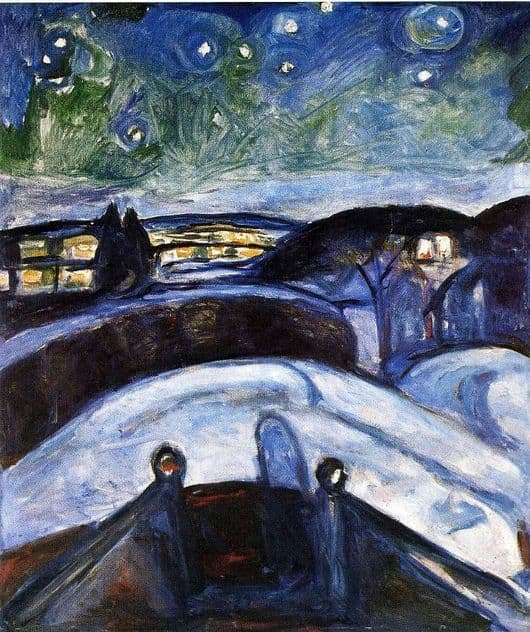 Description of the painting by Edward Munch Starry Night