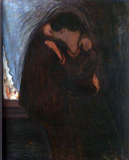 Description of the painting by Edward Munch Kiss