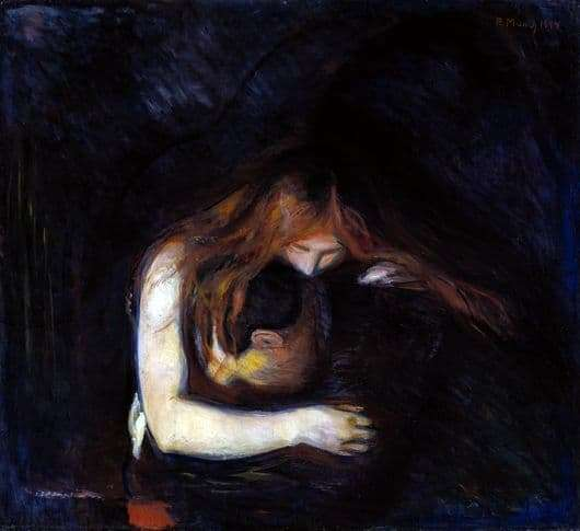 Description of the painting by Edward Munch Vampire