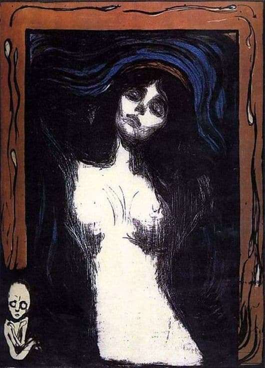 Description of the painting by Edward Munch Madonna
