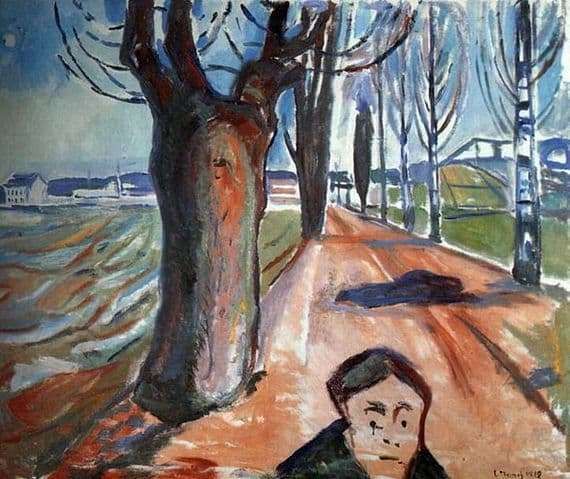 Description of the painting by Edward Munch Killer in the alley