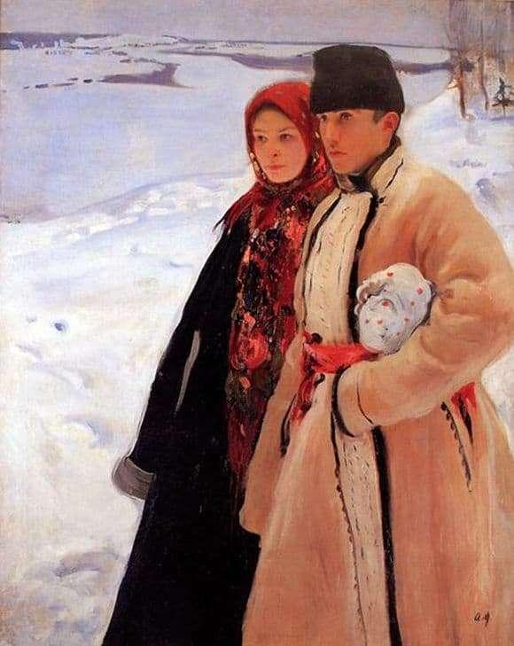 Description of the painting by Alexander Murashko Winter