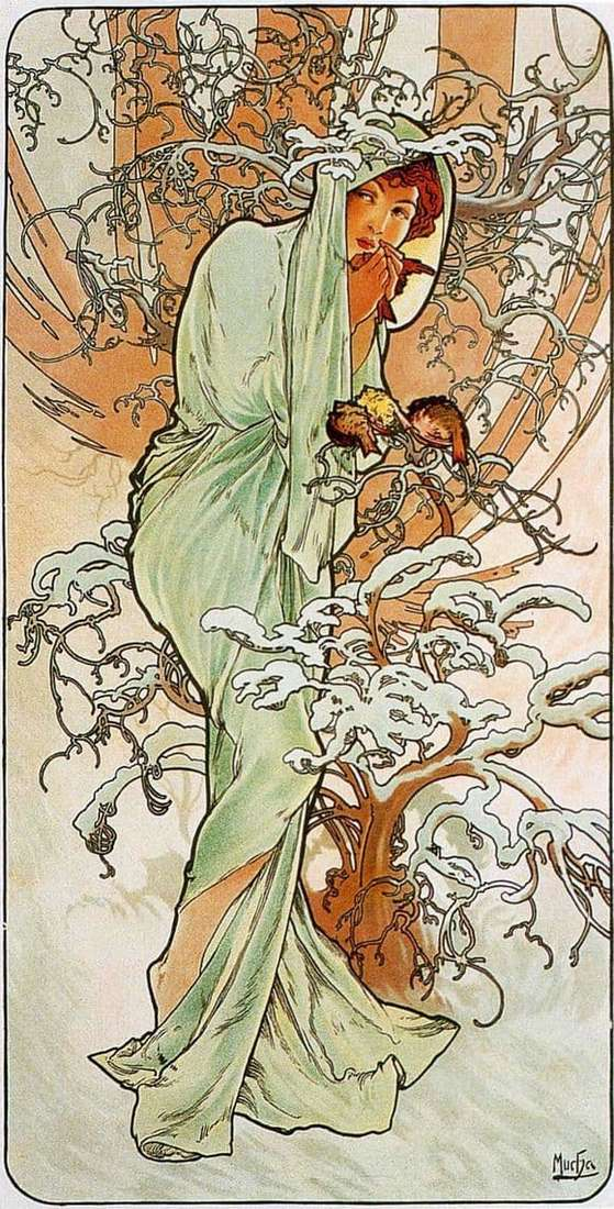 Description of the painting by Alphonse Mucha Winter