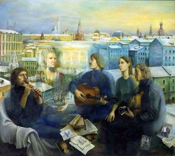 Description of the painting by Tatyana Nazarenko Moscow evening