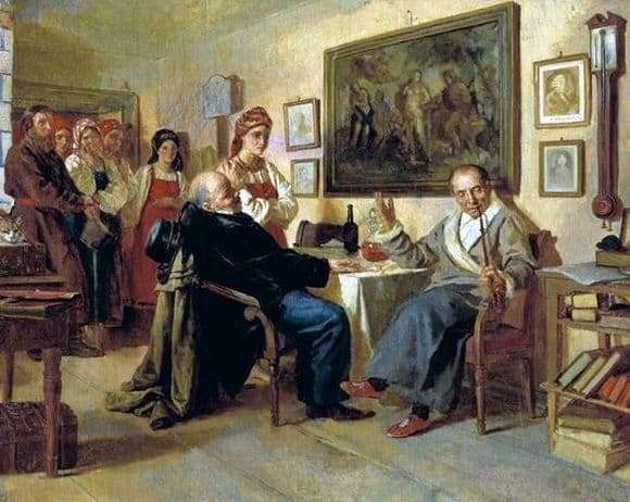 Description of the painting by Nikolai Nevrev Bargaining. Scene from serf life