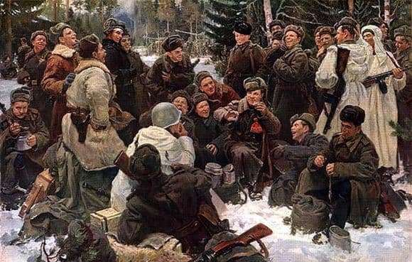 Description of the painting by Yuri Neprintsev Rest after the battle