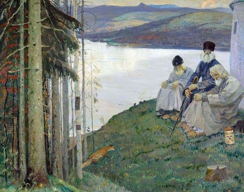 Description of the painting by Mikhail Nesterov Three elders