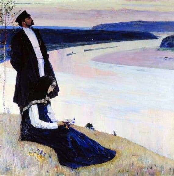 Description of the painting by Mikhail Nesterov Over the Volga