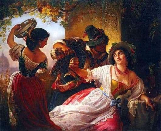 Description of the painting by Pimen Orlov October holiday in Rome