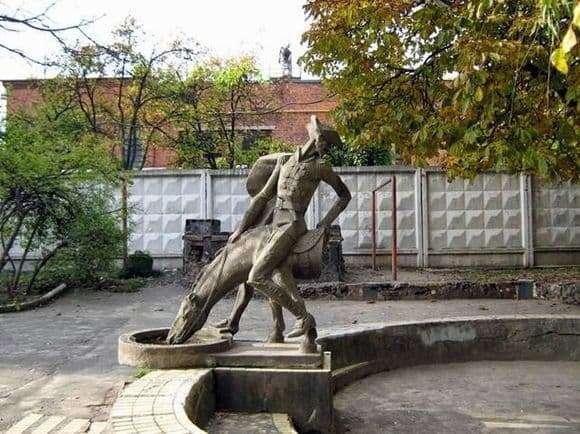 Description of the monument to Munchhausen in Khmelnitsky