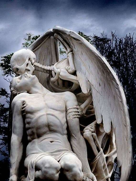 Description of the the sculpture Kiss of Death