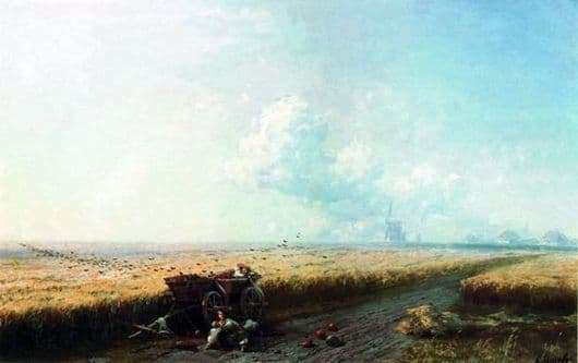 Description of the painting by Ivan Aivazovsky During the harvest in Ukraine
