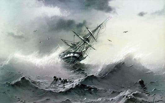 Description of the painting by Ivan Aivazovsky Sinking Ship (Shipwreck)