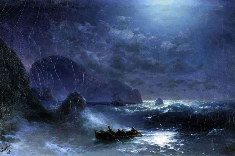Description of the painting by Ivan Aivazovsky Moonlit Night at Sea
