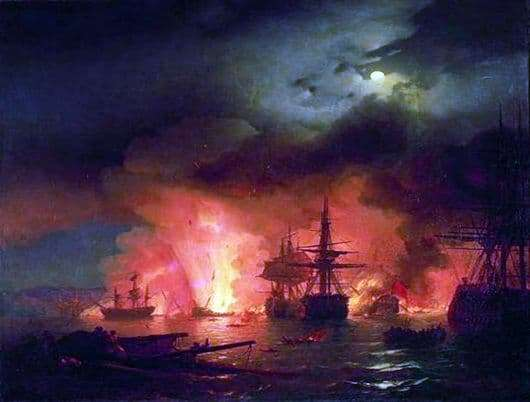Description of the painting by Ivan Aivazovsky Chesmensky battle