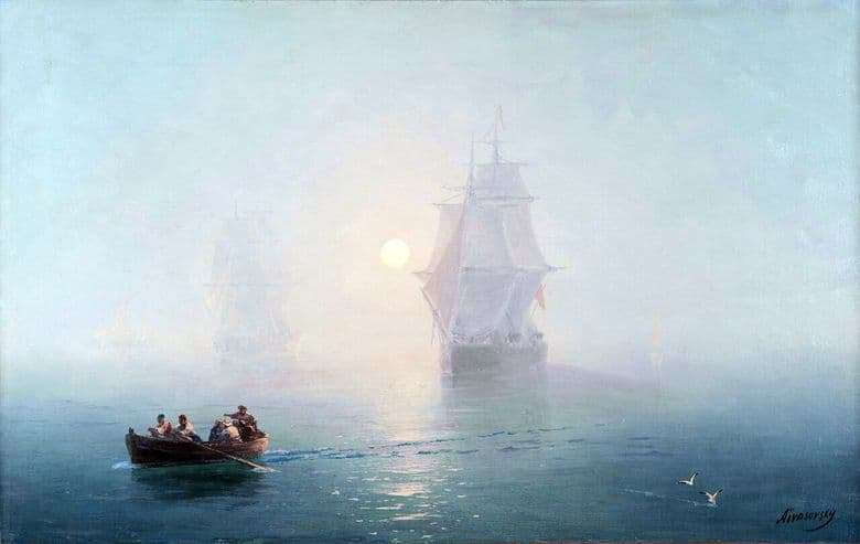Description of the painting by Ivan Aivazovsky Warship