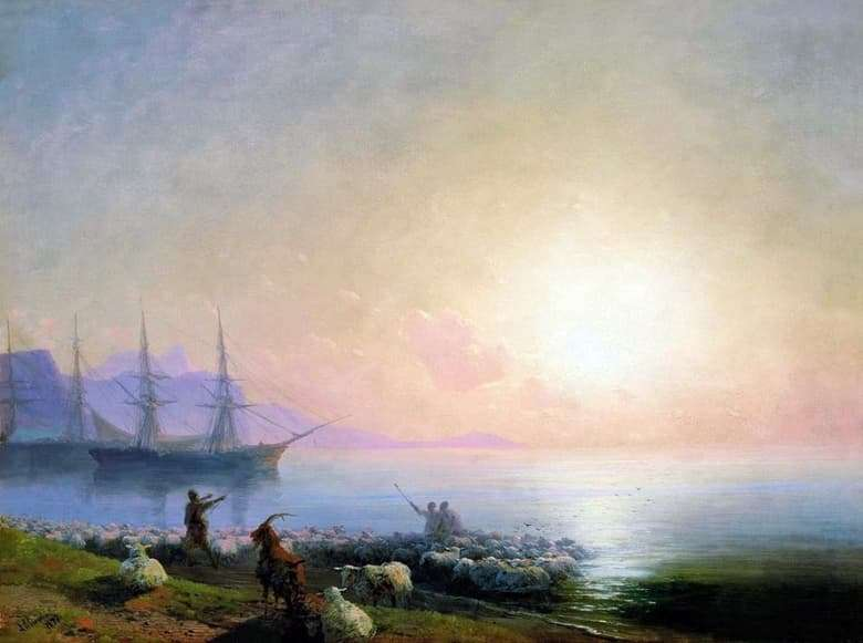 Description of the painting by Ivan Aivazovsky Bathing Sheep