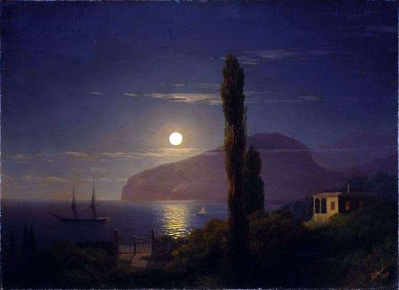 Description of the painting by Ivan Aivazovsky Moonlit Night in the Crimea