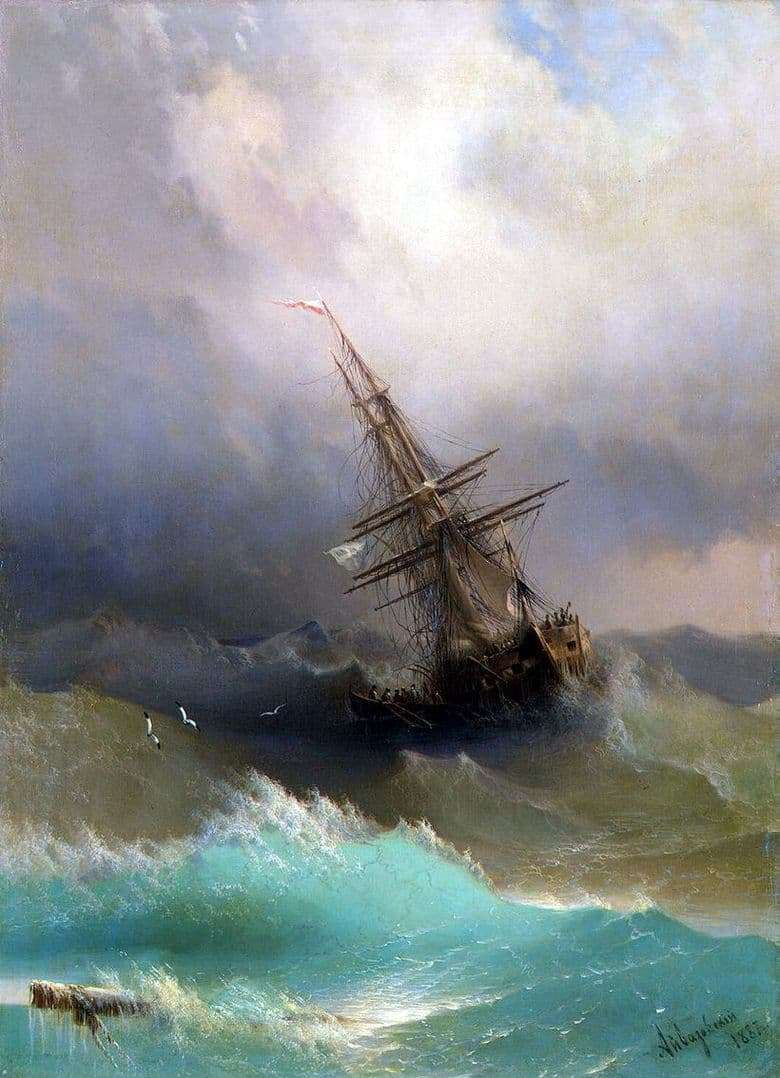 Description of the painting by Ivan Aivazovsky Ship among the stormy sea