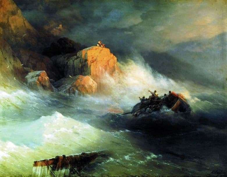 Description of the painting by Ivan Aivazovsky Shipwreck