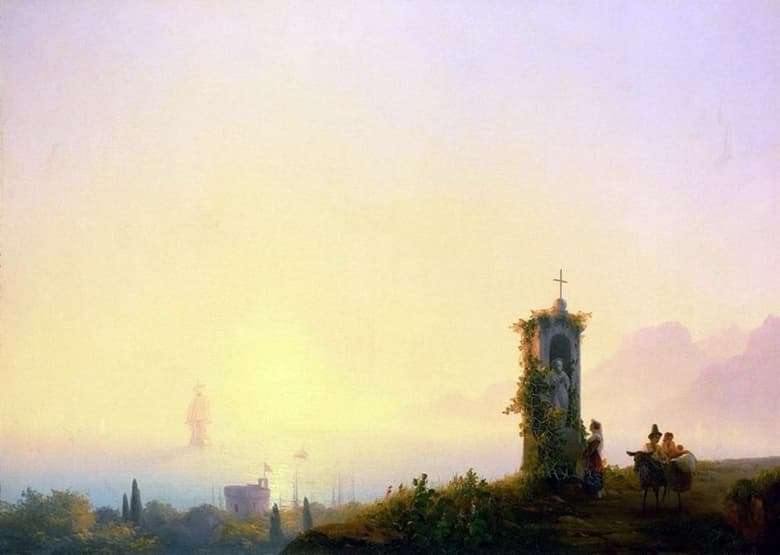 Description of the painting by Ivan Aivazovsky Chapel on the beach