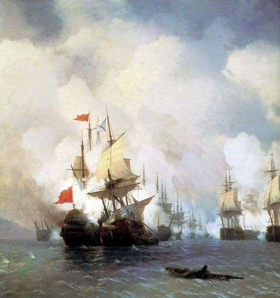 Description of the painting by Ivan Aivazovsky Fight in the Strait of Chios