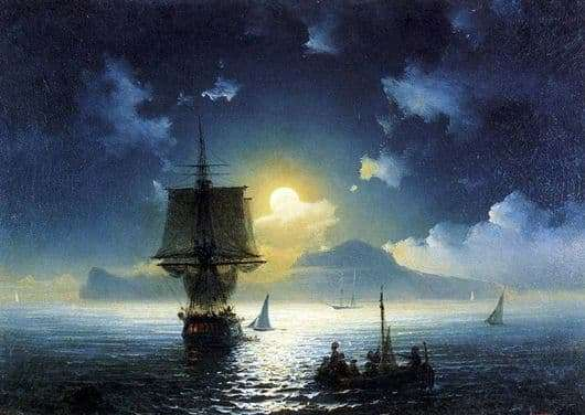 Description of the painting by Ivan Aivazovsky Moonlight Night on Capri