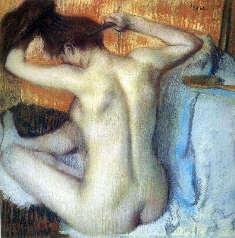 Description of the painting by Edgar Degas combing woman (behind the toilet)
