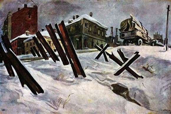 Description of the painting by Alexander Deinek Outskirts of Moscow