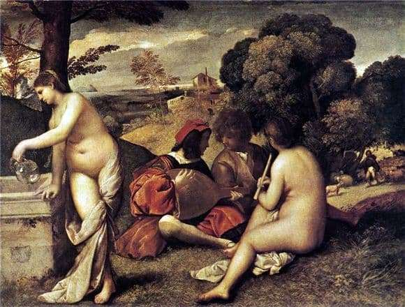 Description of the painting by Giorgione Rural concert